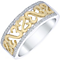 Open Hearts Silver & 9ct Gold Diamond Set Eternity Ring - Product number 4742133