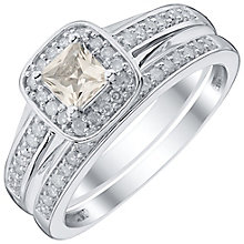 Perfect Fit 9ct White Gold Morganite 1/4ct Bridal Set - Product number 4742265