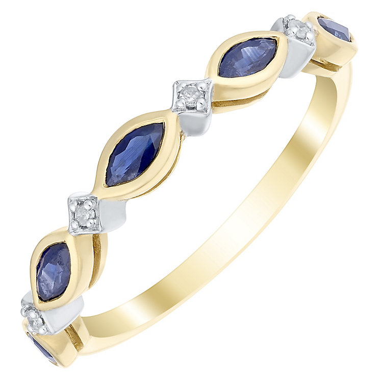 9ct Gold Marquise Sapphire & Diamond Set Eternity Ring - Product number 4742532