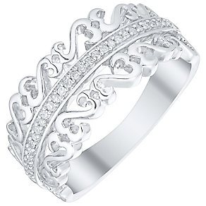 Open Hearts Silver Diamond Set Eternity Ring - Product number 4742664