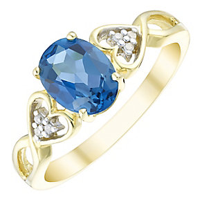 9ct Gold Oval London Blue Topaz & Diamond Shoulders Ring - Product number 4742796