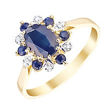 9ct Gold Sapphire & 0.02ct Diamond Oval Ring - Product number 4742931