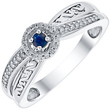 Open Hearts Silver 0.10 Carat Sapphire & Diamond Set Ring - Product number 4744152