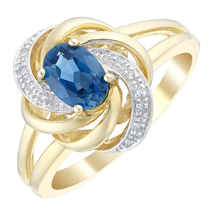 9ct Gold Oval London Blue Topaz & Diamond Set Swirl Ring - Product number 4744284
