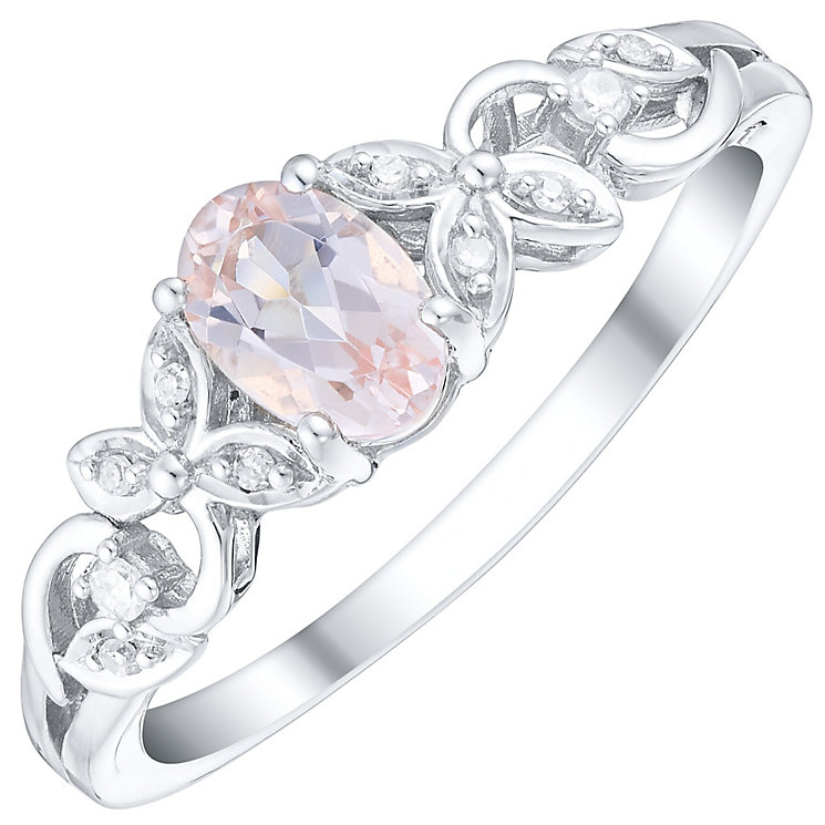 Sterling Silver Morganite & Diamond Floral Side Detail Ring - Product number 4744454