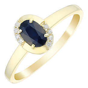 9ct Gold Oval Sapphire & Diamond Set Ring - Product number 4744586