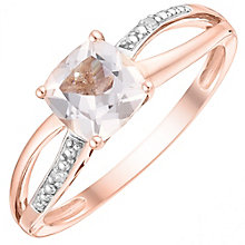 9ct Rose Gold Cushion Cut Morganite & Diamond Ring - Product number 4744721