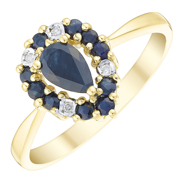 9ct Gold Sapphire & Diamond Set Pear Shape Ring - Product number 4744853