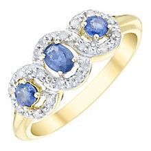 9ct Gold 3 Stone Sapphire & 0.16 Carat Diamond Set Ring - Product number 4744993