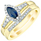 Perfect Fit 9ct Gold Sapphire & 1/4 Carat Diamond Bridal Set - Product number 4745124