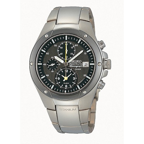 Seiko Sportura men's titanium chronograph watch