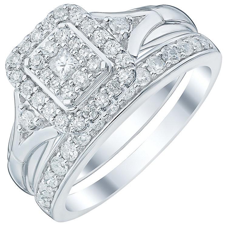 Perfect Fit Platinum 0.60 Carat Diamond Cluster Bridal Set - Product number 4745701