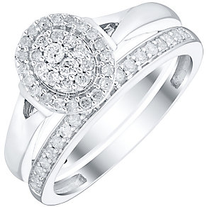 Perfect Fit 9ct White Gold 1/3ct Diamond Cluster Bridal Set - Product number 4746236
