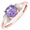 9ct Rose Gold Amethyst & Diamond Set Split Shoulder Ring - Product number 4746783
