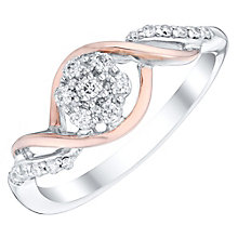 Sterling Silver & 9ct Rose Gold 1/16 Diamond Cluster Ring - Product number 4746910