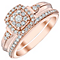 Perfect Fit 9ct Rose Gold 0.40ct Diamond Cushion Bridal Set - Product number 4747089