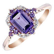 9ct Rose Gold Emerald Cut Amethyst & Diamond Halo Ring - Product number 4747224