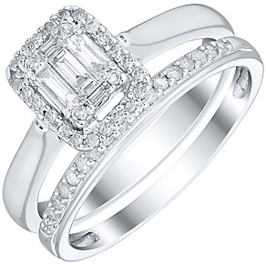 Perfect Fit 9ct White Gold 1/3ct Baguette Diamond Bridal Set - Product number 4747356