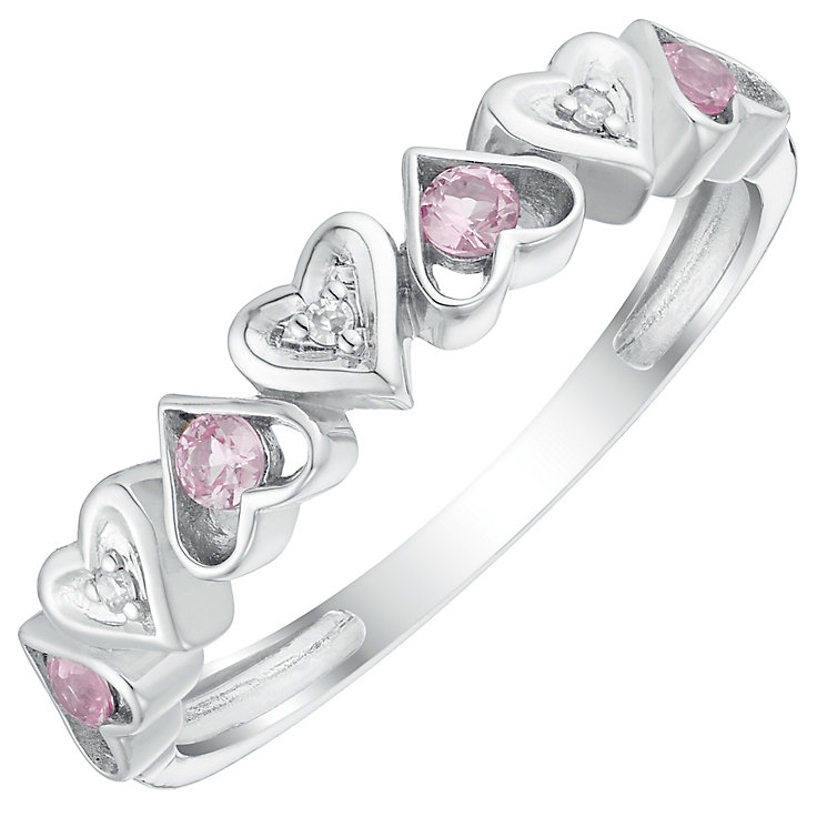 9ct White Gold Pink Sapphire & Diamond Heart Eternity Ring - Product number 4747488