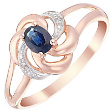 9ct Rose Gold Sapphire & Diamond Flower Ring - Product number 4747968