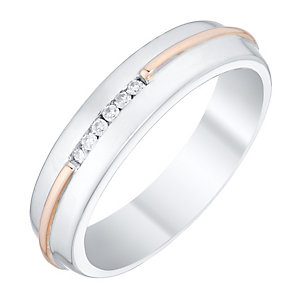 Perfect Fit Men's 9ct Gold 2 Colour Diamond Set Band - Product number 4748433