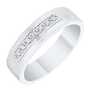Perfect Fit Men's 9ct White Gold Diamond Set Band - Product number 4748581
