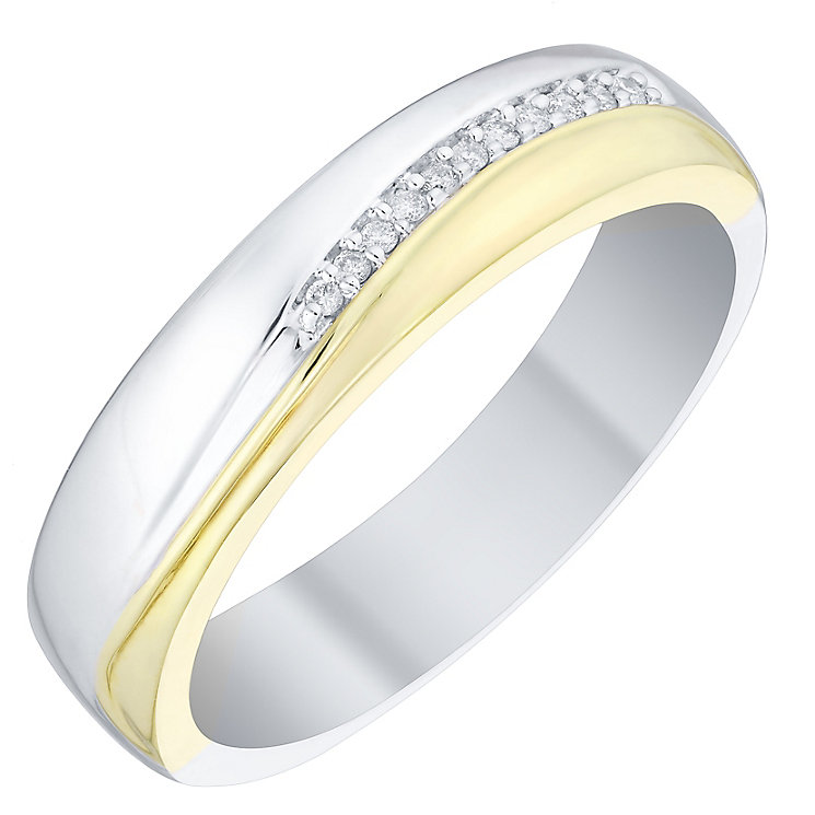 Perfect Fit Men's 9ct Gold 2 Colour Diamond Set Band - Product number 4748743