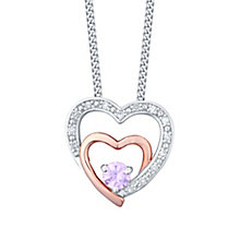 Silver & 9ct Rose Gold Pink Sapphire & Diamond Heart Pendant - Product number 4748913