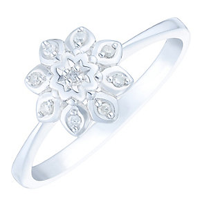 9ct White Gold Diamond Set Flower Cluster Ring - Product number 4749146