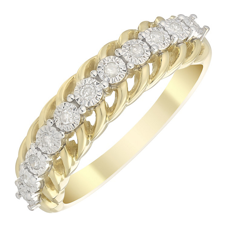 9ct Gold 1/10 Carat Diamond Twist Illusion Set Eternity Ring - Product number 4750128