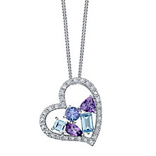 Silver Blue Topaz, Amethyst, Tanzanite & Diamond Pendant - Product number 4750535