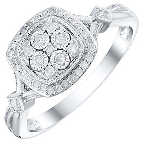 9ct White Gold 0.15 Carat Diamond Cluster Ring - Product number 4750543