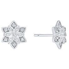 9ct White Gold Diamond Set Flower Stud Earrings - Product number 4750802