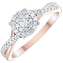 9ct Rose Gold 1/4 Carat Diamond Cluster Ring - Product number 4750810