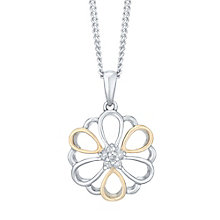 Sterling Silver & 9ct Rose Gold Diamond Set Flower Pendant - Product number 4751094