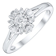 9ct White Gold 1/4 Carat Diamond Cluster Ring - Product number 4751108