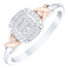 9ct Gold Two Colour 1/10 Carat Diamond Cluster Ring - Product number 4751361