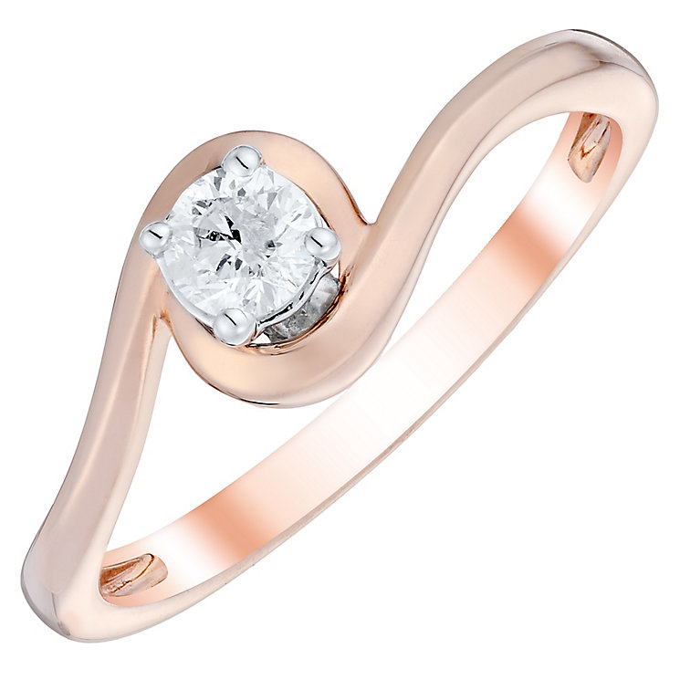 9ct Rose Gold 1/5 Carat Diamond Solitaire Twist Ring - Product number 4751647