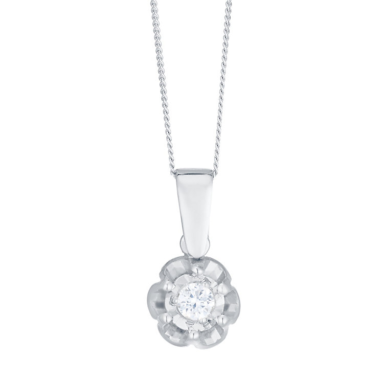 9ct White Gold Diamond Solitaire Illusion Set Flower Pendant - Product number 4752694