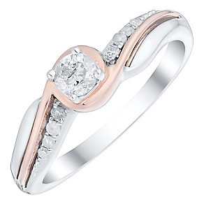9ct Gold Two Colour 1/4ct Diamond Solitaire Wrapover Ring - Product number 4752902
