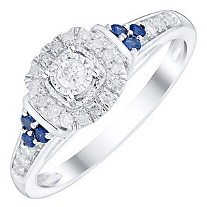 9ct White Gold 1/5ct Diamond & Sapphire Ring - Product number 4753046