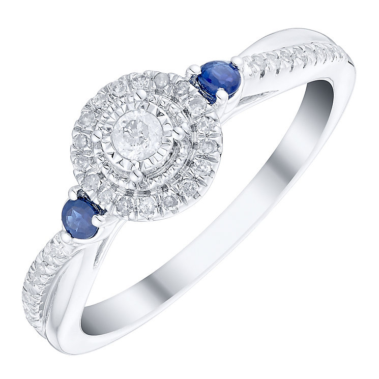 9ct White Gold 0.15 Carat Diamond & Sapphire Ring - Product number 4753178