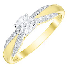 9ct Gold 1/10 Carat Diamond Illusion Solitaire Ring - Product number 4753291