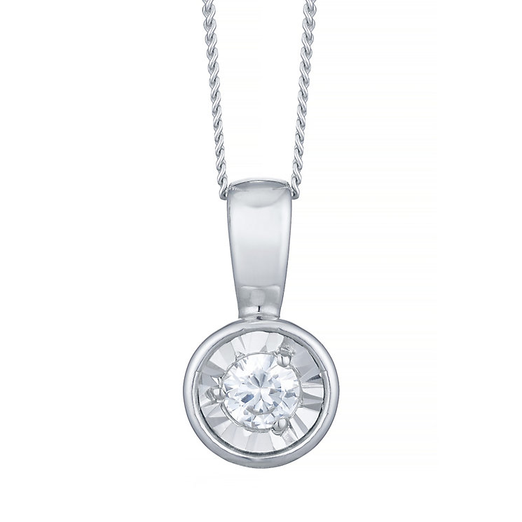 9ct White Gold Diamond Solitaire Illusion Set Pendant - Product number 4753429