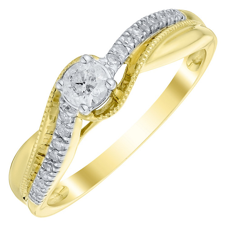 9ct Gold 1/4 Carat Diamond Solitaire Ring - Product number 4753445
