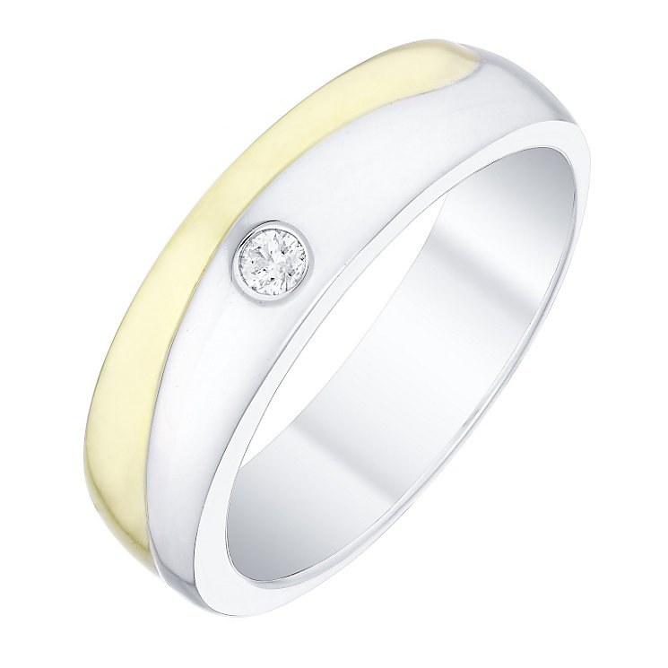 Perfect Fit Men's 9ct Gold 2 Colour Diamond Set Wave Band - Product number 4753593