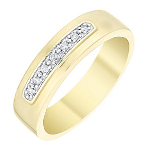 Perfect Fit Men's 9ct Gold Diamond Set Band - Product number 4754174