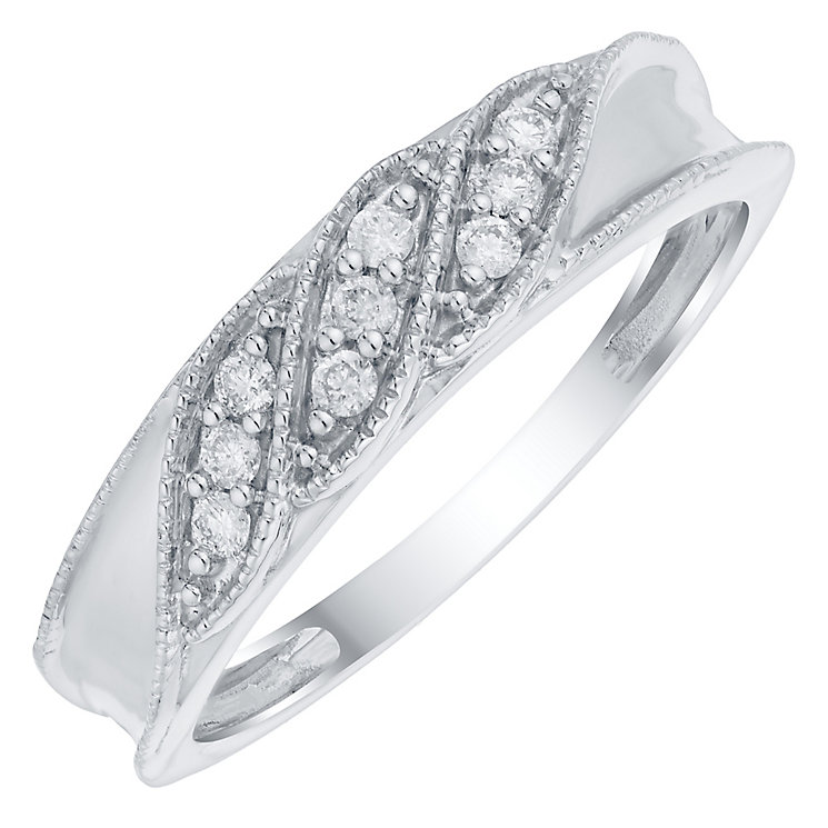 9ct White Gold 1/10 Carat Diamond Twist Eternity Ring - Product number 4754778