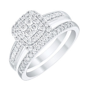Perfect Fit 9ct White Gold 1/2ct Diamond Cushion Bridal Set - Product number 4755499