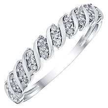 9ct White Gold 0.15 Carat Diamond Twist Eternity Ring - Product number 4756312